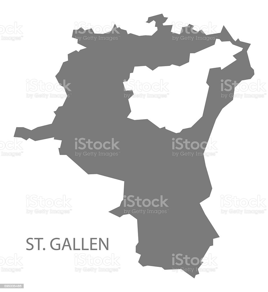 St Gallen Switzerland Map Grey Stock Vector Art More Images of