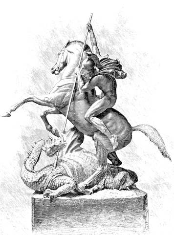 St. George and the Dragon - Victorian Illustration