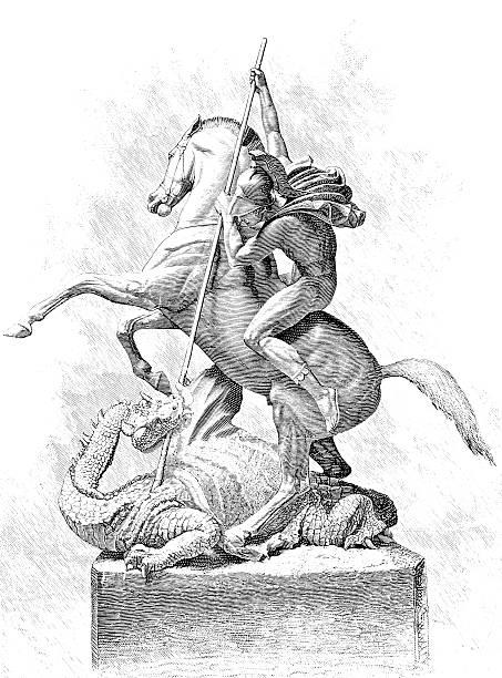 st. george und der drache-viktorianischen illustrationen - nikolaiviertel stock-grafiken, -clipart, -cartoons und -symbole