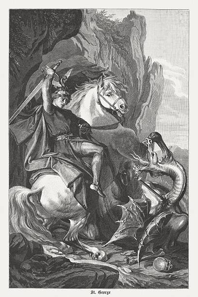 st george's battle with the dragon, wood engraving, published 1882 - nikolaiviertel stock-grafiken, -clipart, -cartoons und -symbole