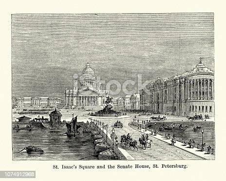 Vintage engraving of St Isaac's Square, Senate House, Saint Petersburg, Russia, 19th Century