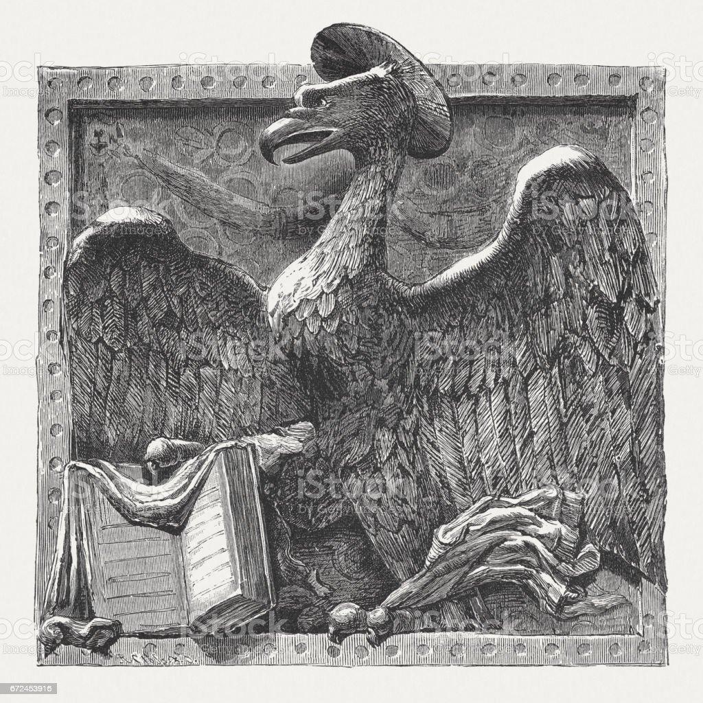St. John as an eagle, sculpted by Donatello, Padua, Italy vector art illustration