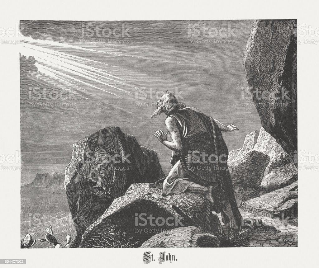 St John on Isle of Patmos, wood engraving, published 1886 vector art illustration