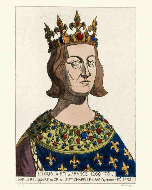 st. louis ix king of france. 1260-1270 - st louis stock illustrations