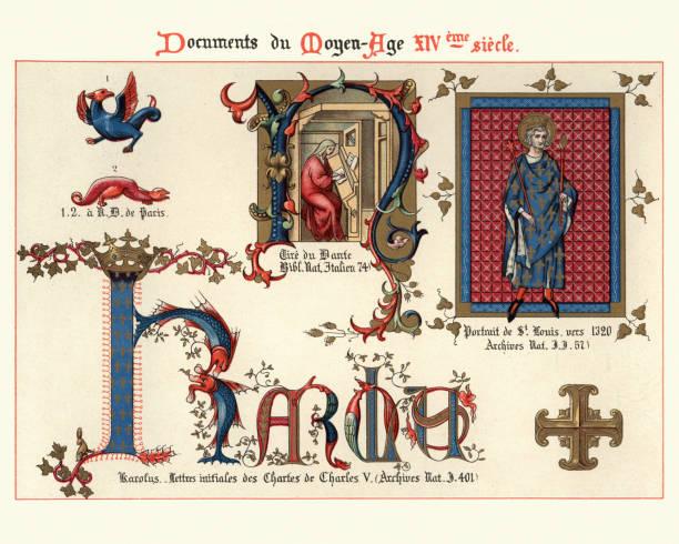 st louis, medieval decorative art from illuminated manuscripts 14th century - st louis stock illustrations