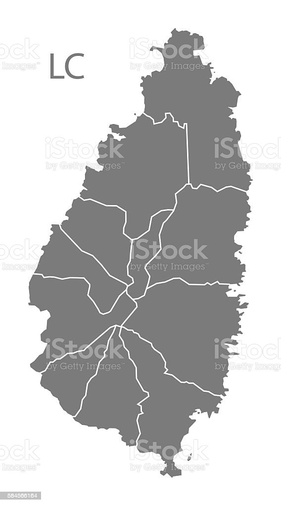 St Lucia districts Map grey vector art illustration