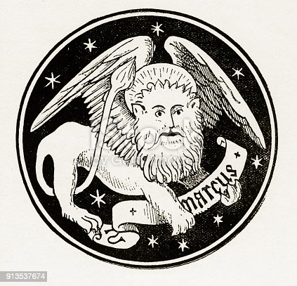 St. Mark The Lion Christian Symbolism Engraving