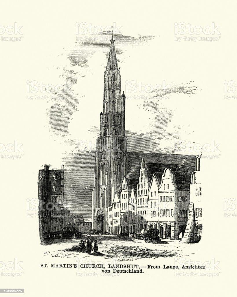 St Martin's Church, Landshut, Bavaria, Germany, 19th Century vector art illustration