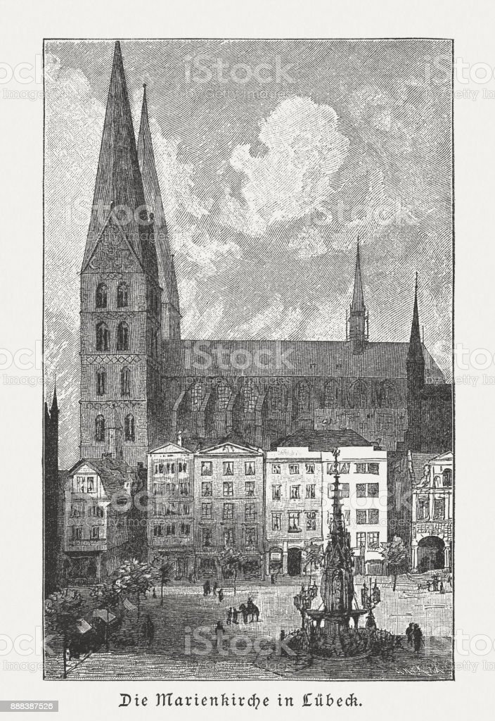 St. Mary's Church in Lübeck, Germany, wood engraving, published 1887 vector art illustration