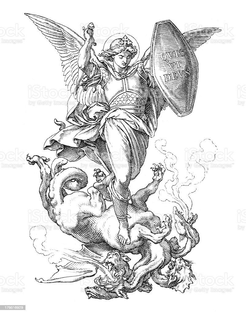 St. Michael del arcángel lucha dragon - ilustración de arte vectorial