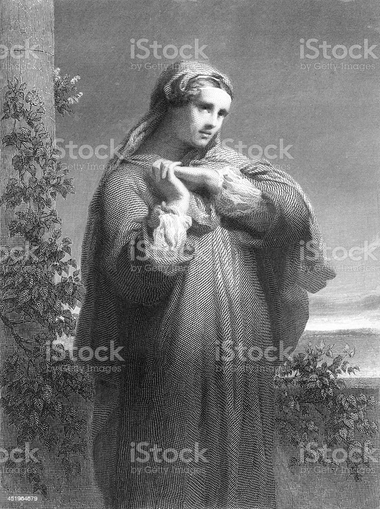 St. Monica - Antique Engraving royalty-free stock vector art