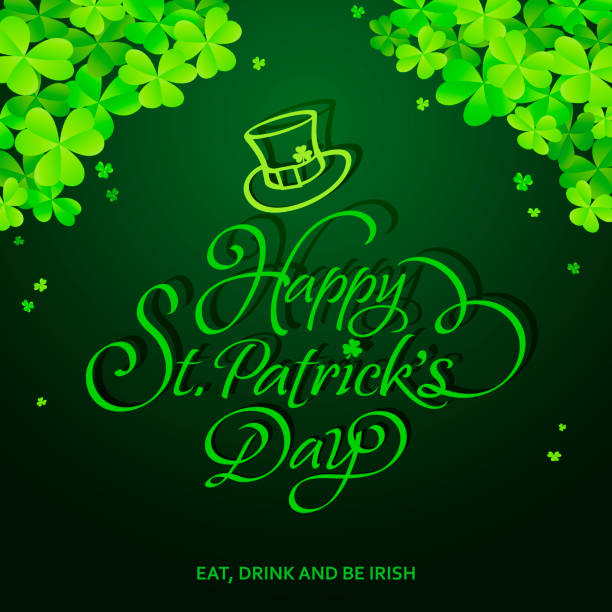 a368b096f St. Patrick's Day Calligraphy & Clover Leaves vector art illustration