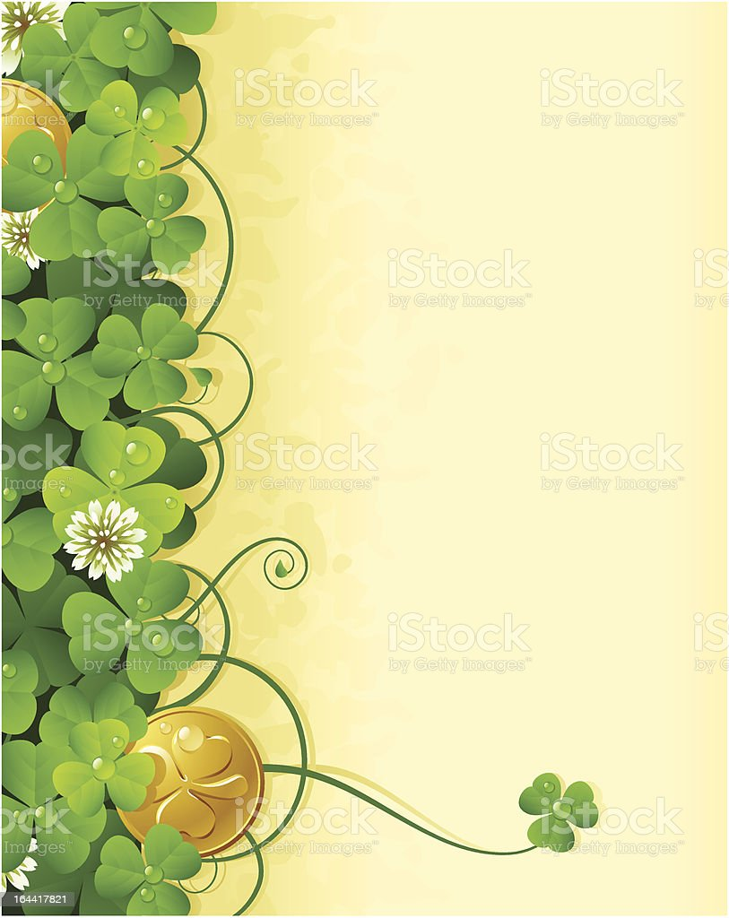 St. Patrick's Day frame with clover and golden coin 3 royalty-free stock vector art