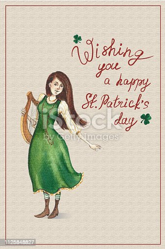St. Patrick's day postcard with hand drawn watercolor girl in a green dress with a harpe