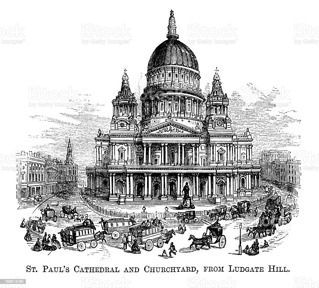 St Paul's Cathedral and Churchyard from Ludgate Hill (1871 engraving) royalty-free stock vector art