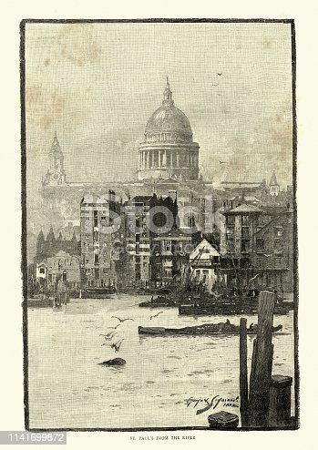 Vintage engraving of St. Paul's Cathedral from River Thames, 19th Century London. 1886