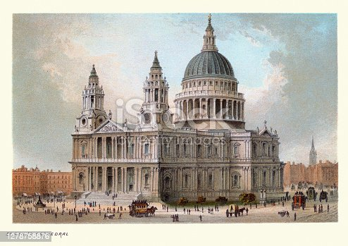 Vintage illustration St. Paul's Cathedral, Victorian London, 19th Century Art print.