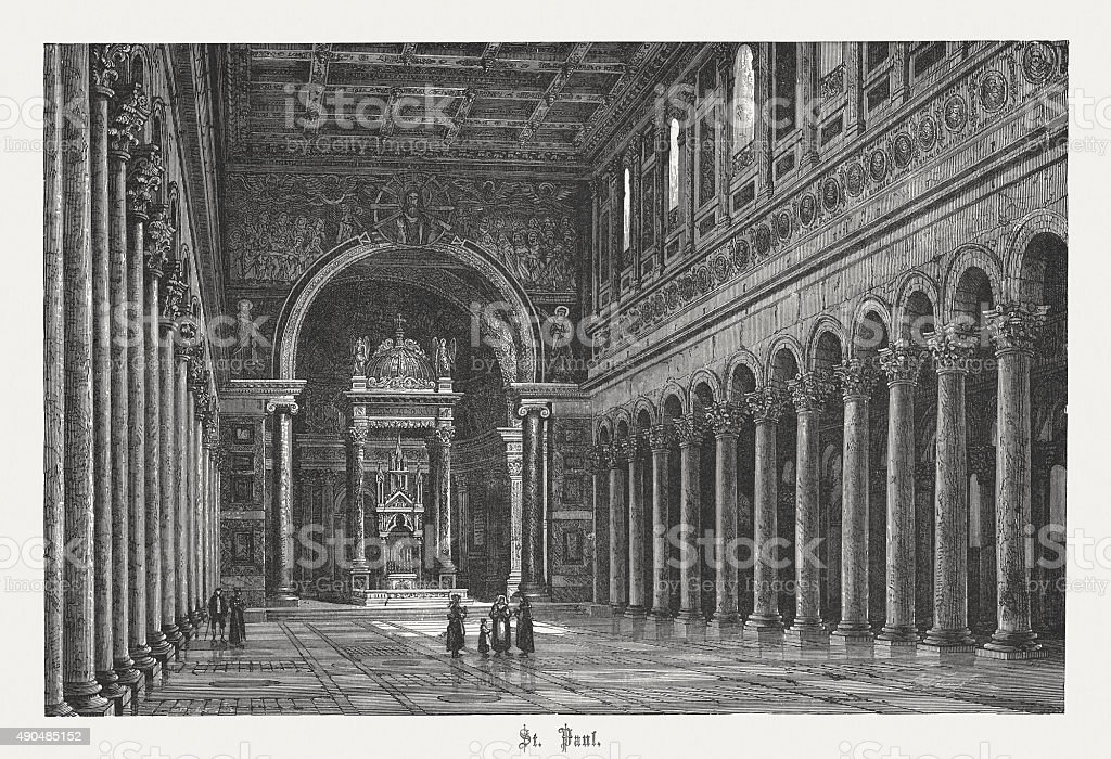 St. Paul's outside the Walls, published in 1878 vector art illustration