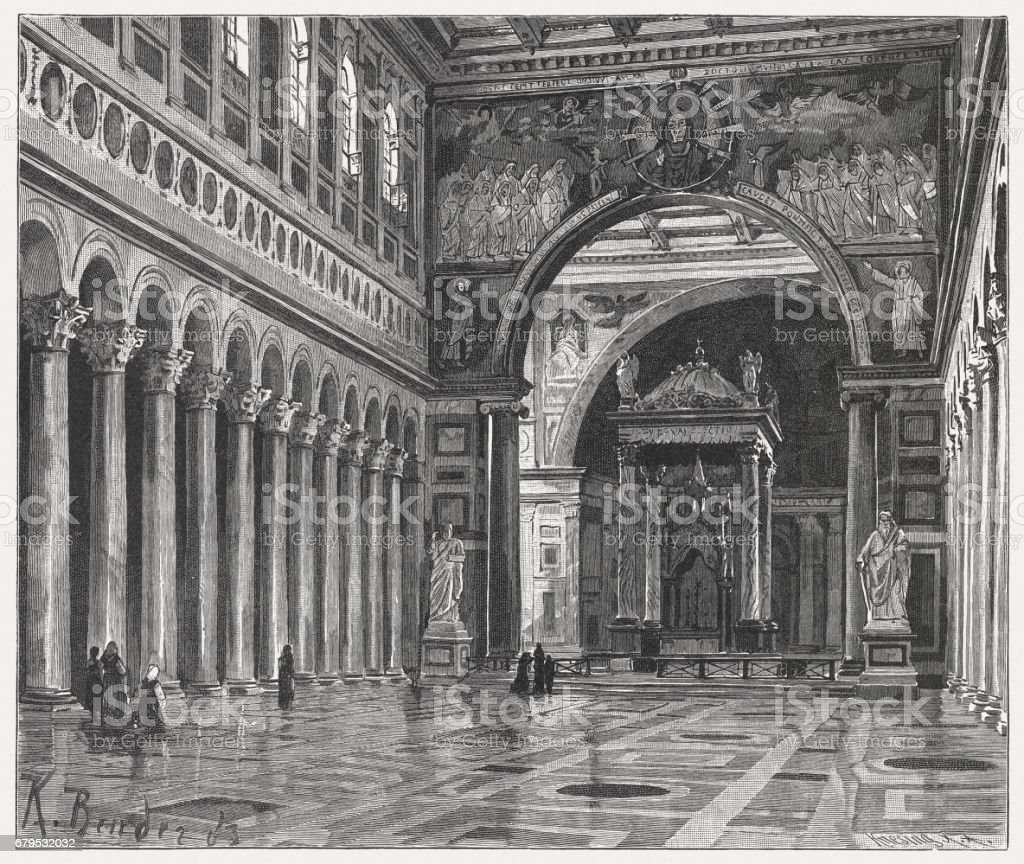 St. Paul's outside the Walls, Rome, wood engraving, published 1884 vector art illustration