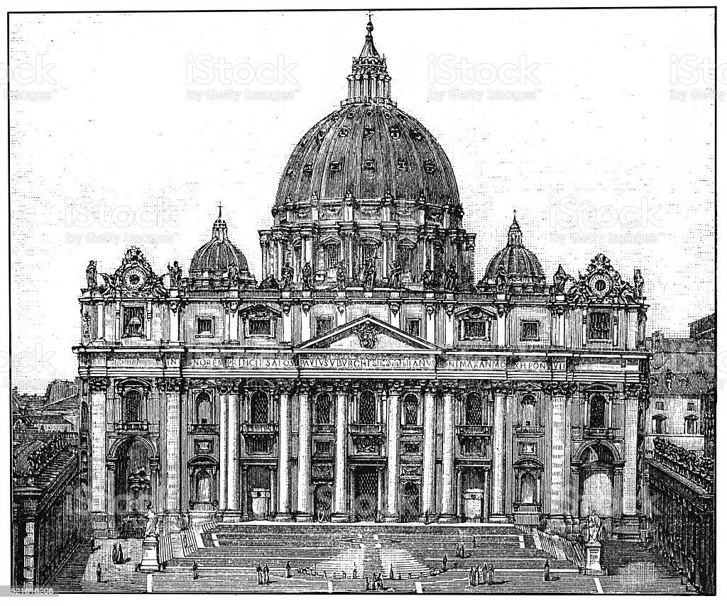 Basilica di San Pietro in Rome vector art illustration