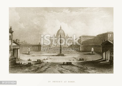 Extremely Rare, Beautifully Illustrated Antique Victorian Engraved Illustration of St. Peter's Basilica, Vatican, Italy Victorian Engraving, from Liberators of Italy, A Book about General Garibaldi's fight for the liberation of Italy. Published in 1865. Copyright has expired on this artwork. Digitally restored.