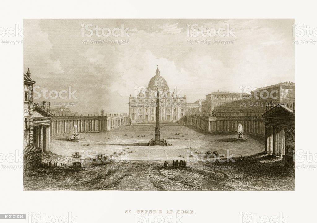 Basílica de São Pedro, no Vaticano, Itália, Circa 1865 aviso vitoriana - ilustração de arte em vetor
