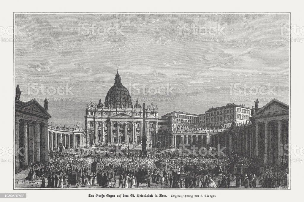 Quadrado, Vaticano, gravura em madeira do são Pedro, publicado em 1876 - ilustração de arte em vetor
