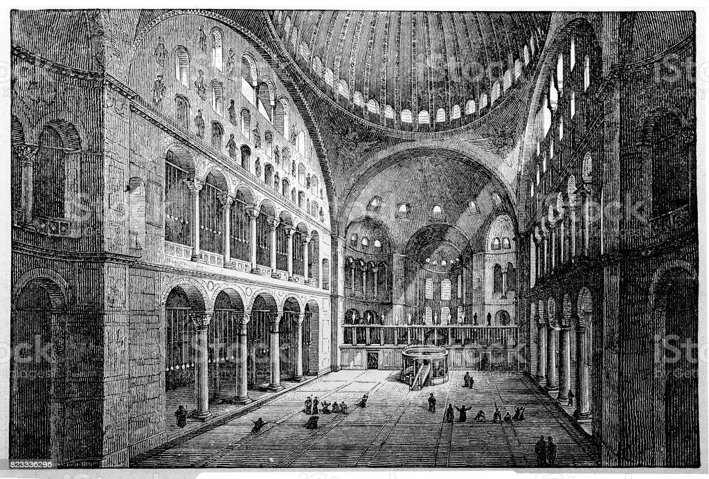 St. Sophia Church interior vector art illustration
