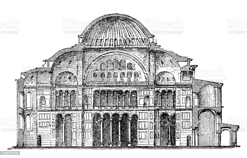 St. Sophia Church section vector art illustration