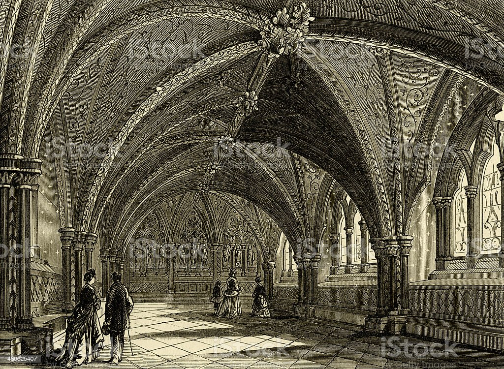 St Stephen's Crypt, old Palace of Westminster vector art illustration