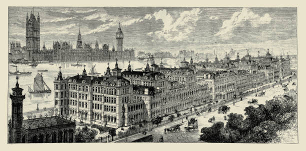 St. Thomas's Hospital, London, exterior bird's-eye view from south Illustration of a St. Thomas's Hospital, London, exterior bird's-eye view from south 20th century stock illustrations