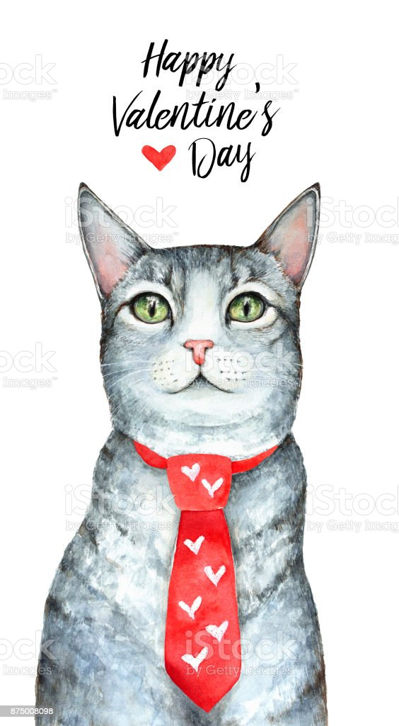 St Valentines Day Greeting Card Design Template Cute Cat Wearing