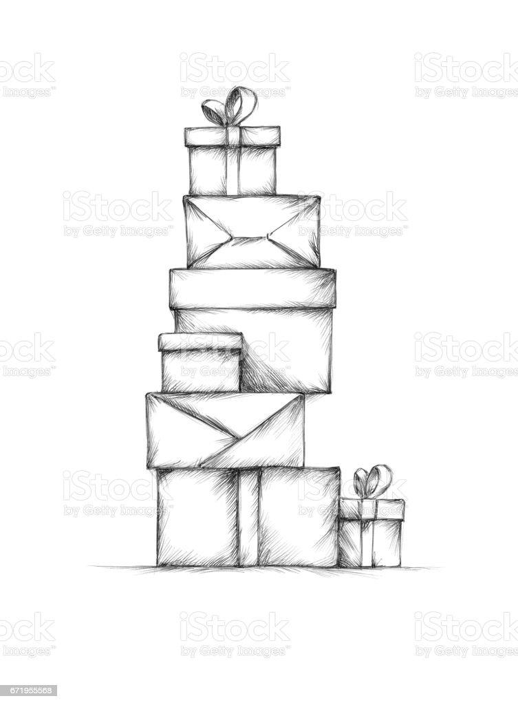 A stack of gift packs – Vektorgrafik