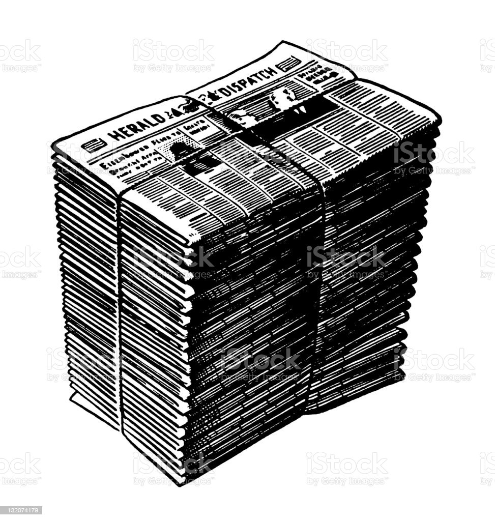 Stack of Newspapers vector art illustration