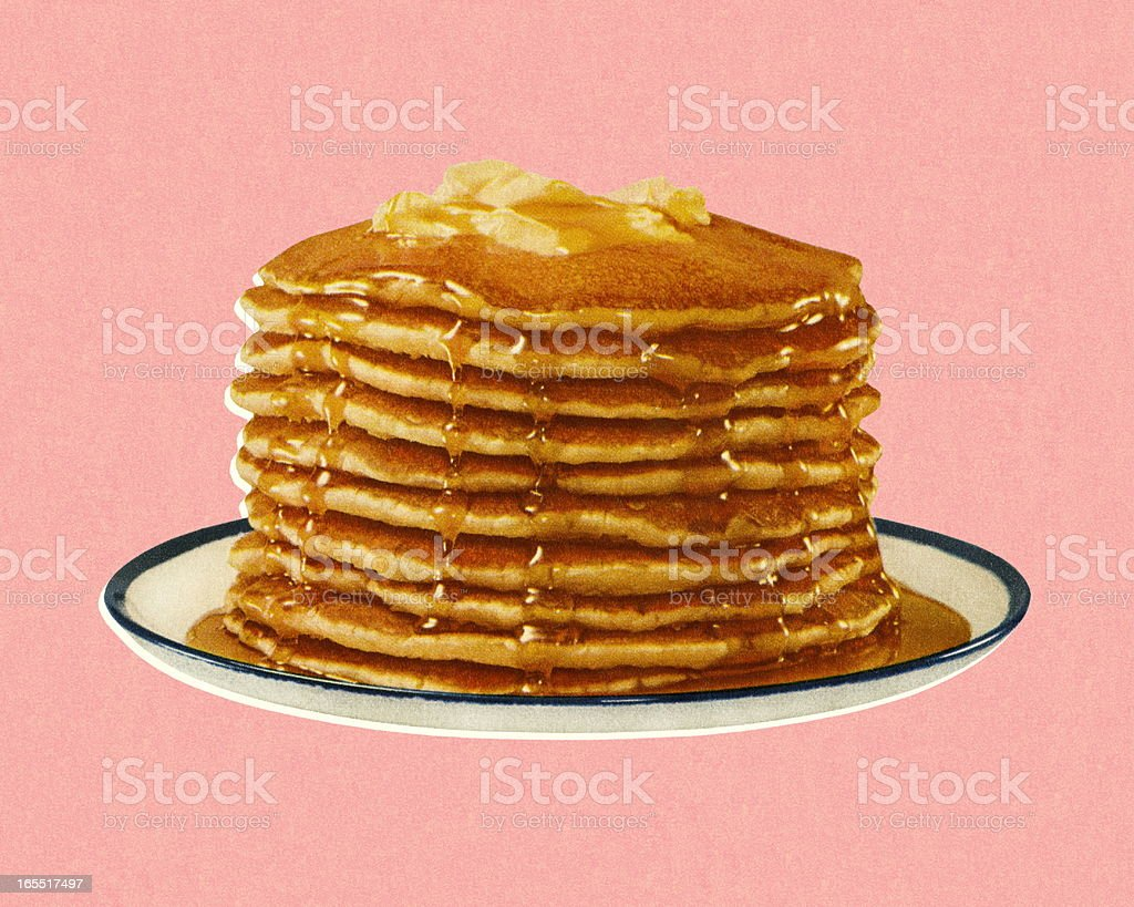 Stack of Pancakes vector art illustration