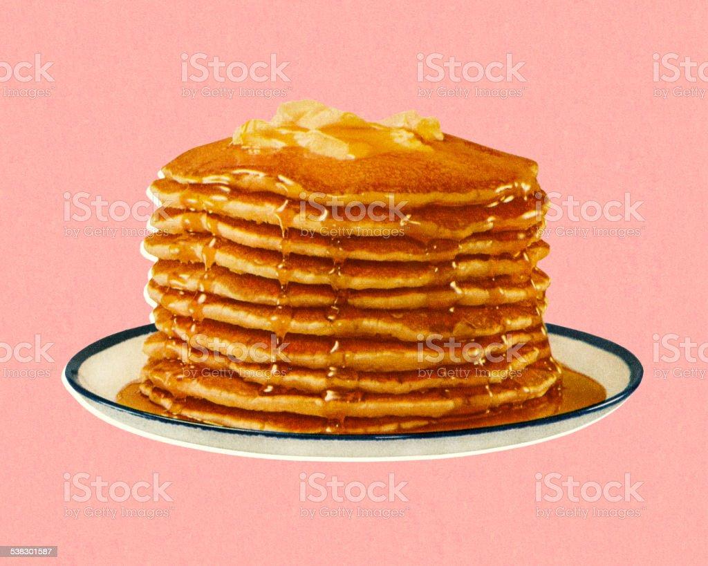 Stack of Pancakes vector art illustration