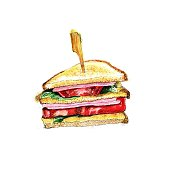 istock Stack of sandwiches with ham, tomato and lettuce leaves. Snack, white background, isolated. Watercolor hand drawing illustration. 1314923382