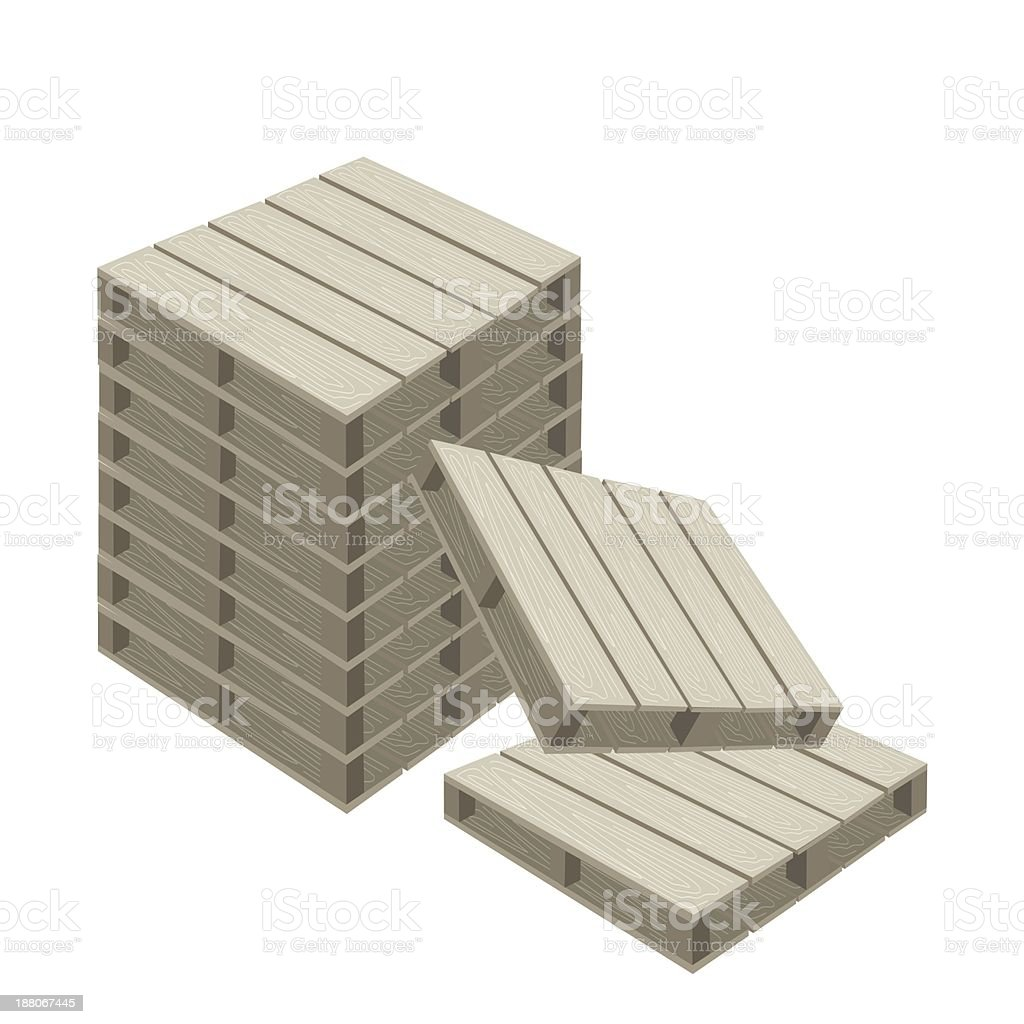 Stack of Wood Pallets on White Background royalty-free stock vector art