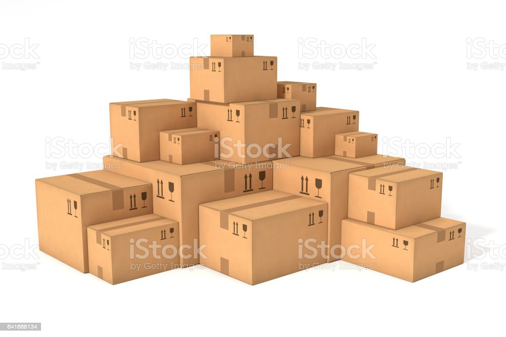 Stacks of cardboard boxes vector art illustration