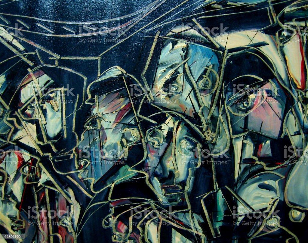 Stadium - An oil painting on canvas vector art illustration