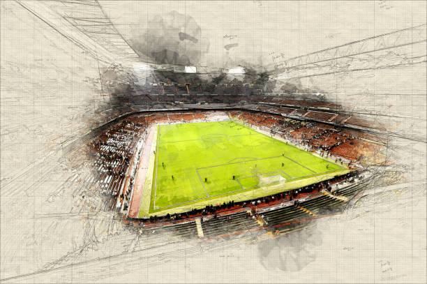 illustrations, cliparts, dessins animés et icônes de stade - football
