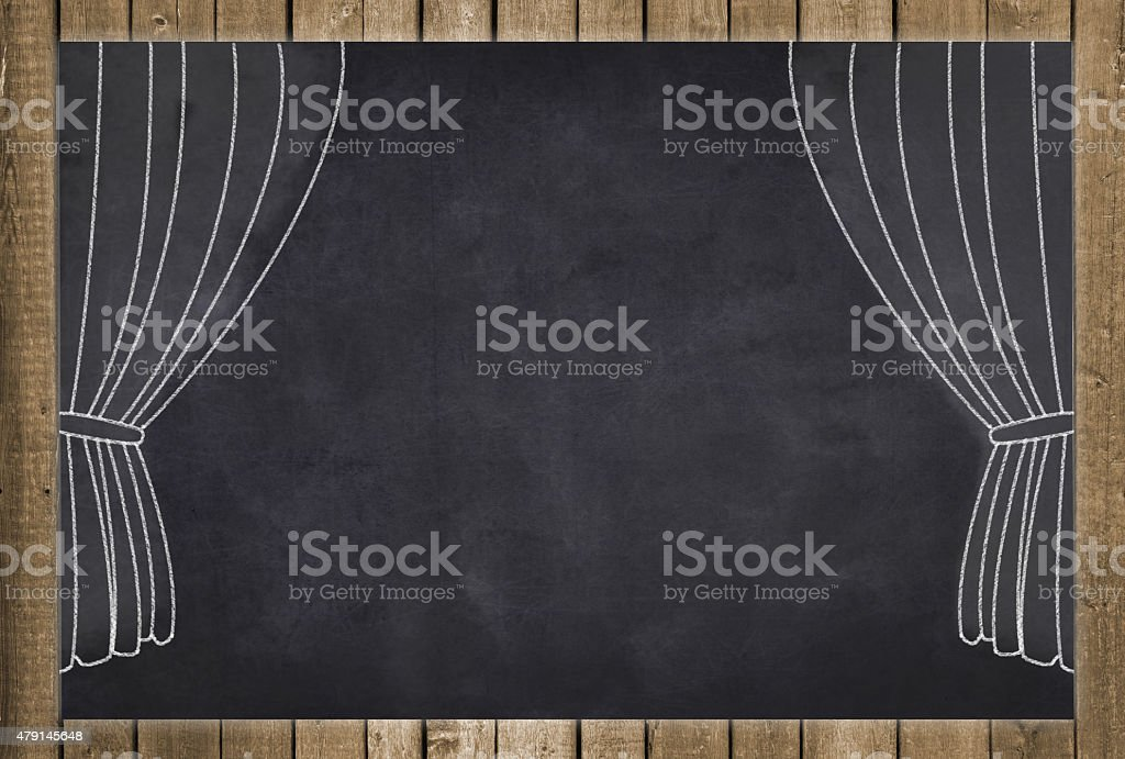 stage curtain drawing on chalkboard background vector art illustration