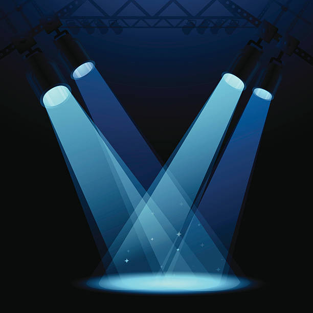 stockillustraties, clipart, cartoons en iconen met stage spotlights - spotlicht belichting