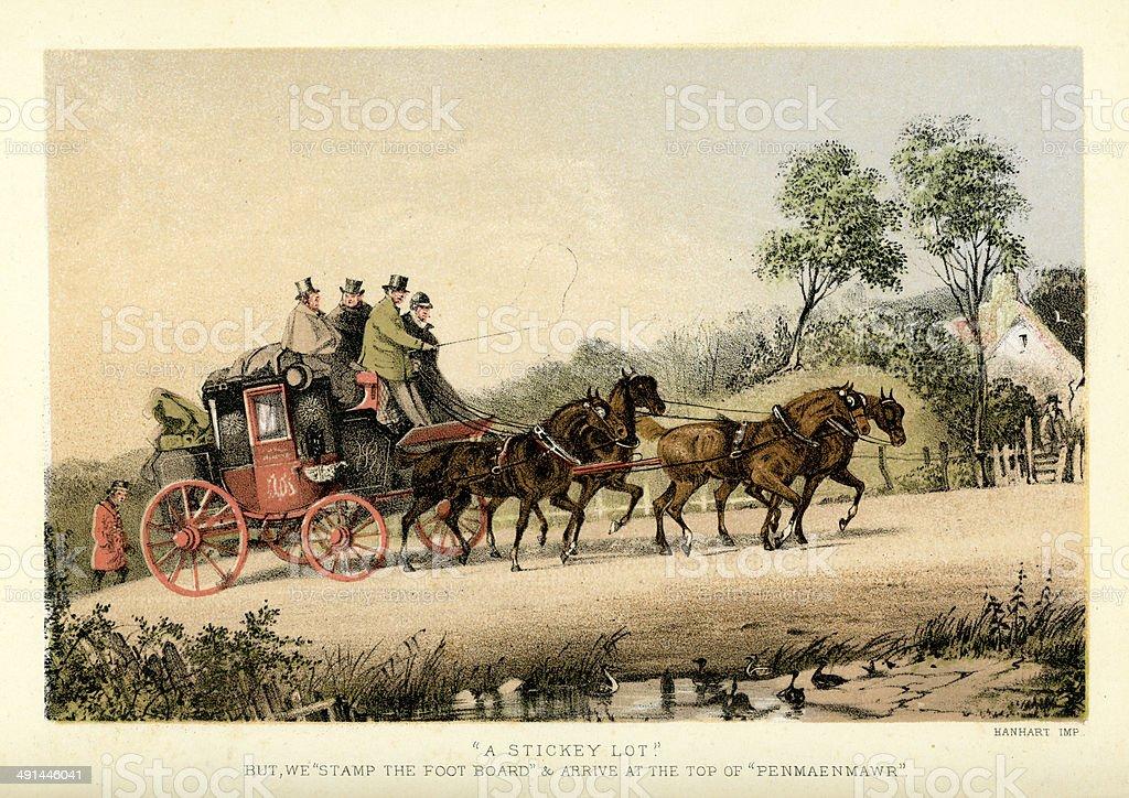 Stagecoach to Penmaenmawr vector art illustration
