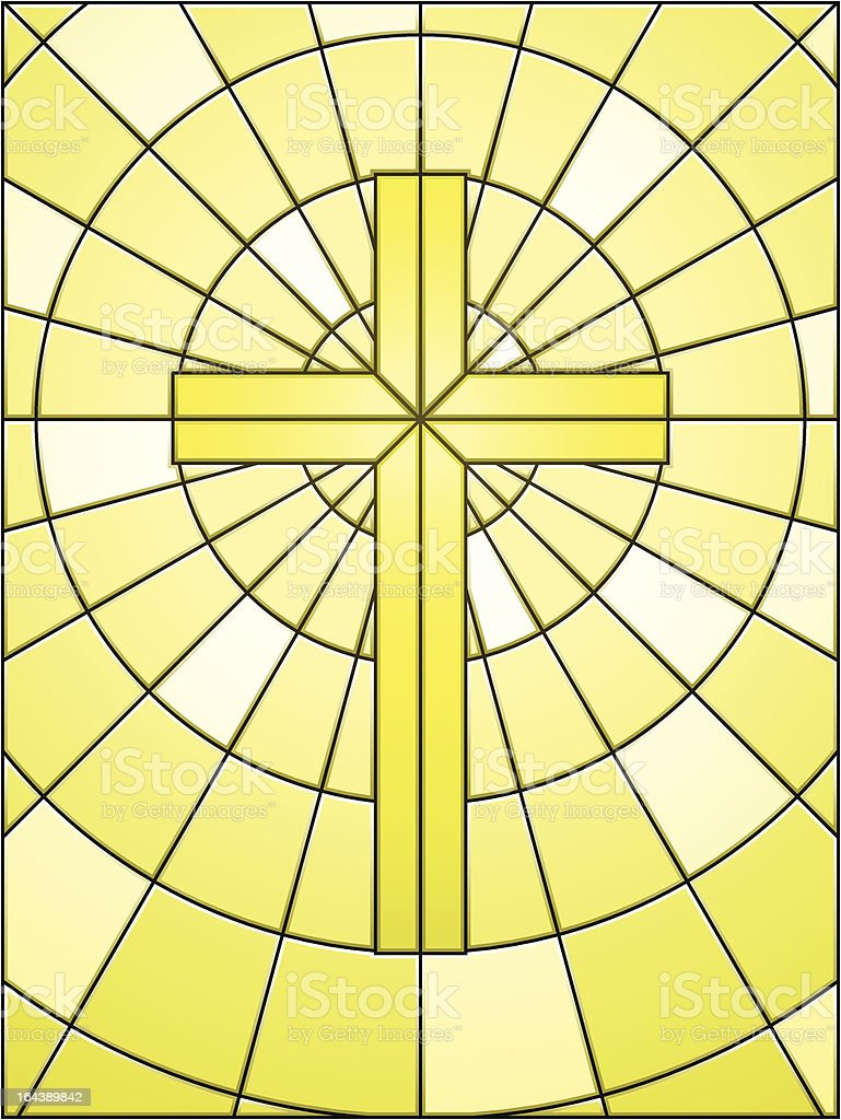 Stained glass cross on gold vector art illustration