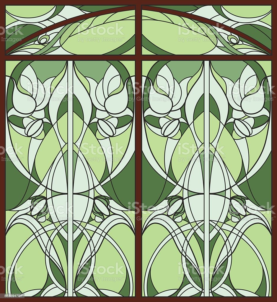 Stained Glass Window Abstract Illustration With Floral Art Nouveau
