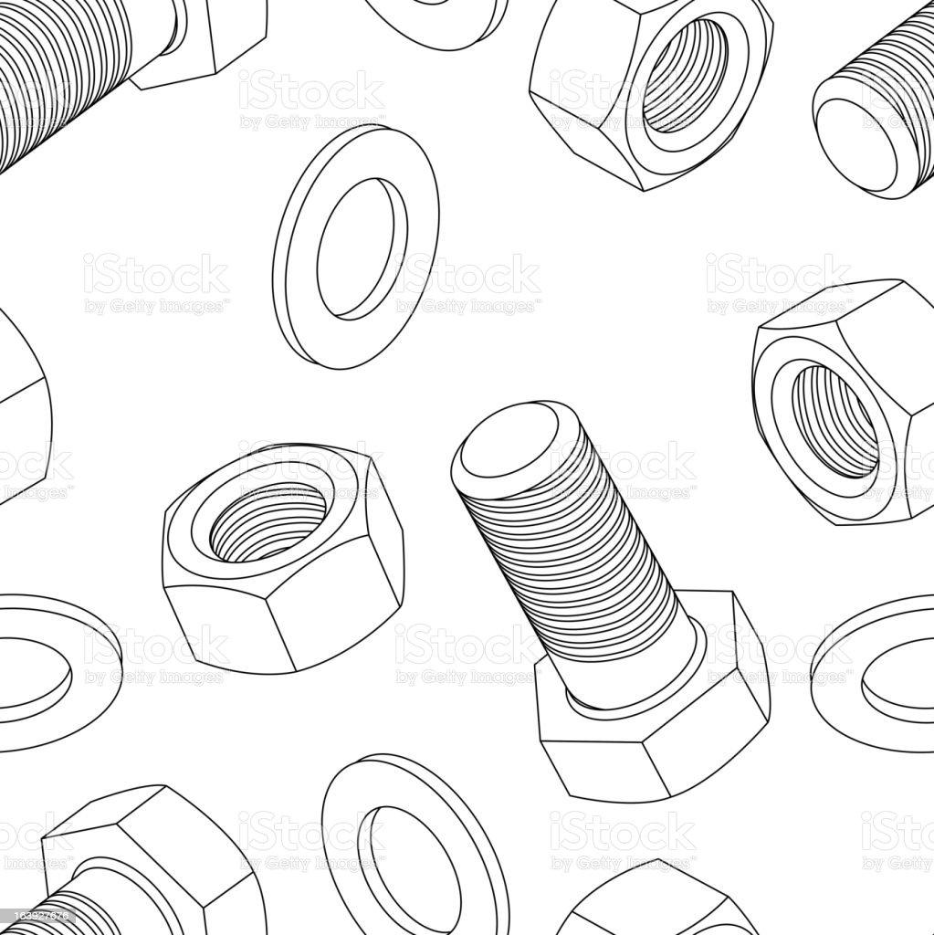 Stainless steel bolt and nut vector art illustration