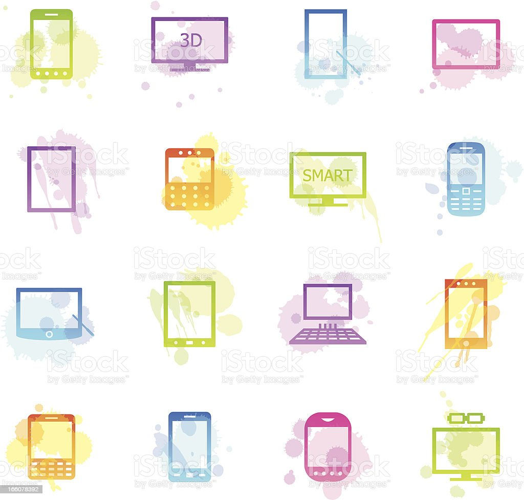 Stains Icons - Smart Devices royalty-free stock vector art