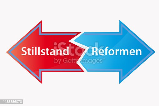 Stalemate reforms arrow on white background