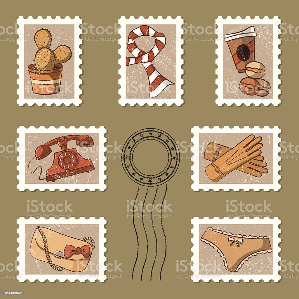Stamp collection royalty-free stock vector art